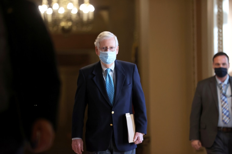 Image: U.S. Senate Minority Leader McConnell walks to the Senate floor at the U.S. Capitol in Washington