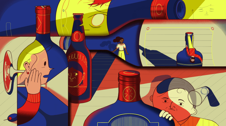 Image: Illustration of faces looking through glass alcohol bottles searching for help.