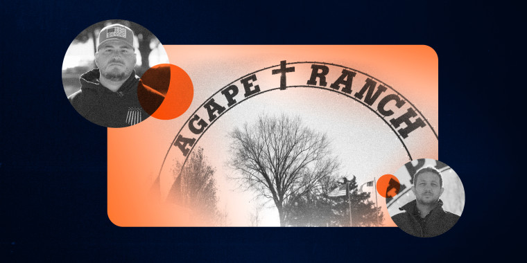 Image: Illustration showing a collage of the Agape Ranch entrance sign with circles showing Allen Knoll and Colton Schrag.