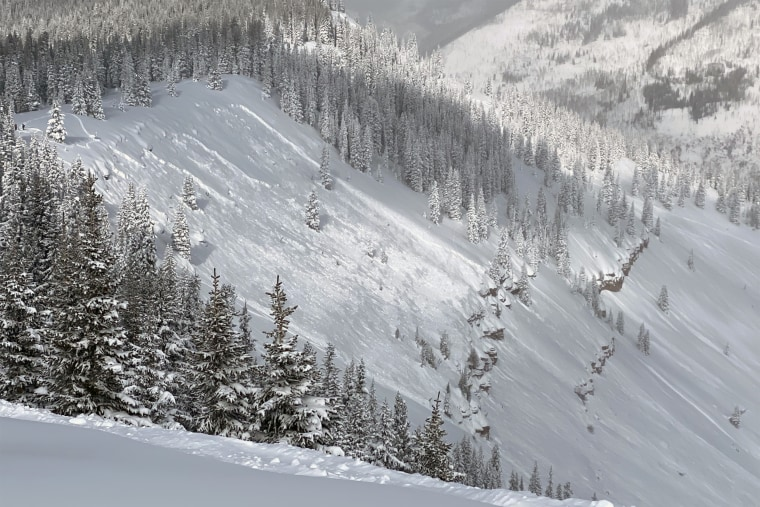 A skier was caught and killed in an avalanche in the backcountry south of Vail, Colo., on Feb. 4, 2021.