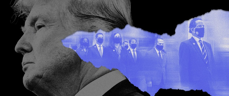 Photo illustration of Donald Trump looking to the left and a tear reveals a blue image of the impeachment managers led by Jamie Raskin.