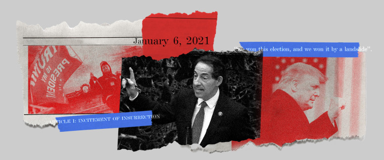 """Photo collage of a rioter at the Capitol with a Trump flag, Jamie Raskin speaking and Donald Trump with his fist raised. Tapes over it read,""""January 6, 2021"""", """"Article I: Incitement of Insurrection"""" and """"we won this election, and we won by a landslide""""."""