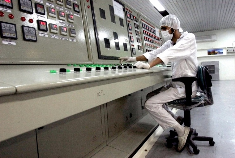 A technician works at the Uranium Conversion Facility just outside the city of Isfahan, Iran, on Feb. 3, 2007.