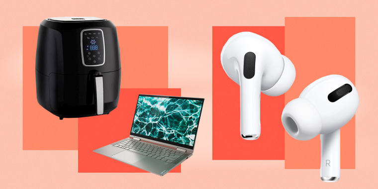 Image: Collage showing an air fryer, a laptop and Apple Airpods Pro. The best President's Day sales in 2021 include furniture sales, TV sales, and mattress sales from Amazon, Best Buy, Walmart, Target, Macy's and more.