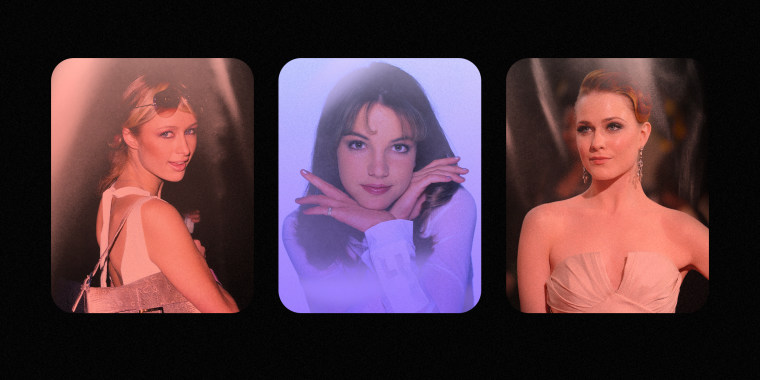 Image: A collage showing Paris Hilton, Britney Spears and Evan Rachel Wood on a black background.
