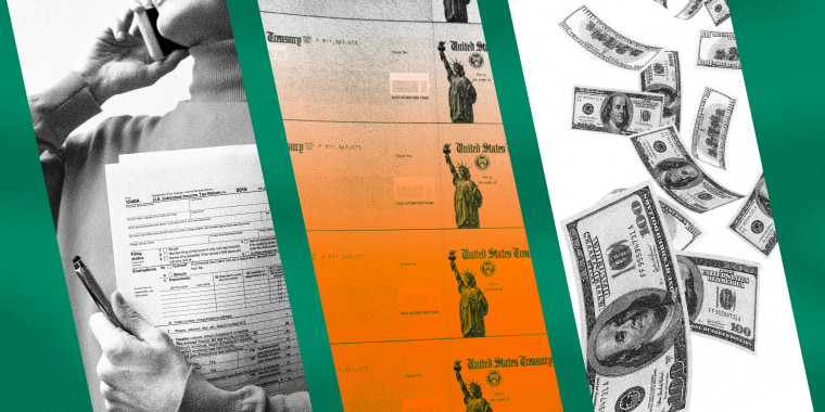 Image: A collage on a green background with vertical strips showing a woman holding tax documents, U.S. Treasury checks, and dollar bills floating.
