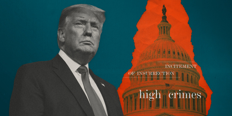 """Image: Illustration shows former President Donald Trump on a teal background with a red paper tear showing the Capitol and words like \""""insurrection\"""" and \""""high crimes.\"""""""