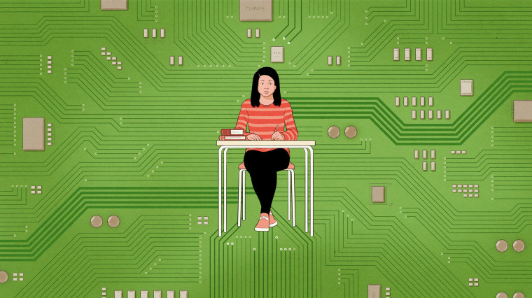 Image: Illustration of a school-aged girl sitting at a desk with books on a green circuit board.