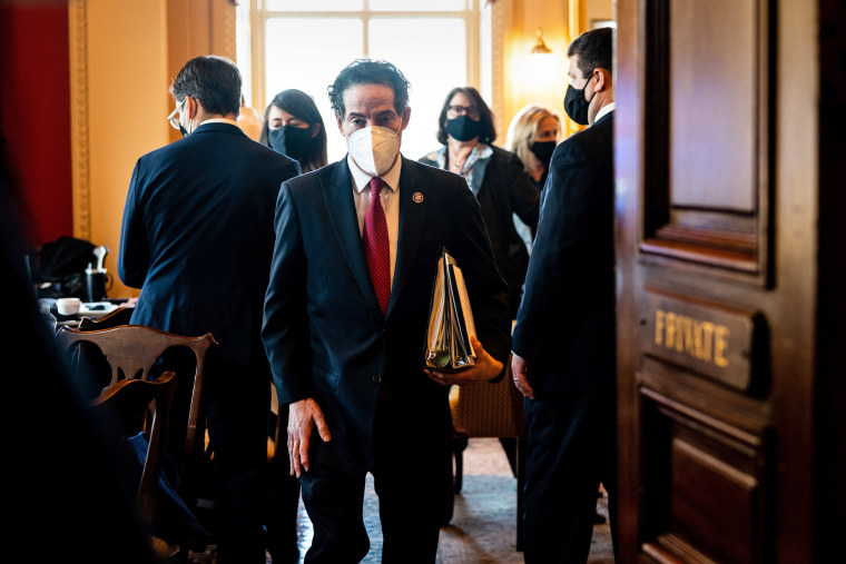 Image: Lead House impeachment manager Rep. Jamie Raskin (D-Md.) walks back to the Senate floor after a break in the first day of the second impeachment trial of former President Donald Trump at the Capitol in Washington on Tuesday, Feb. 9, 2021. (Erin Sch