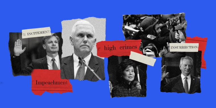 """Photo illustration with images of Christopher Wray taking oath, Mike Pence, Elaine Chao, officer Michael Fanone during the Capital riot and Sen. Tommy Tuberville and scraps of paper over it read,""""Impeachment"""", """"high crimes"""", """"insurrection"""",""""incitement."""