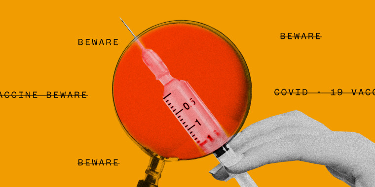 """Photo illustration of a magnifying glass with a red lens over a hand holding a vaccine. Text around it that reads """"Beware"""", """"Covid-19 vaccine"""", has been crossed out."""