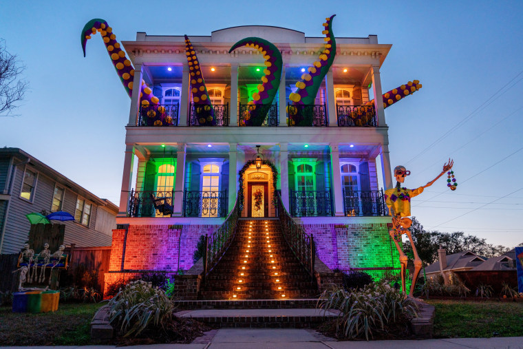 Image: The Kraken house float, on Memphis St., in Lakeview, is one of thousands in the New Orleans area decorated in celebration of Mardi Gras in Louisiana, U.S., Feb. 7, 2021.