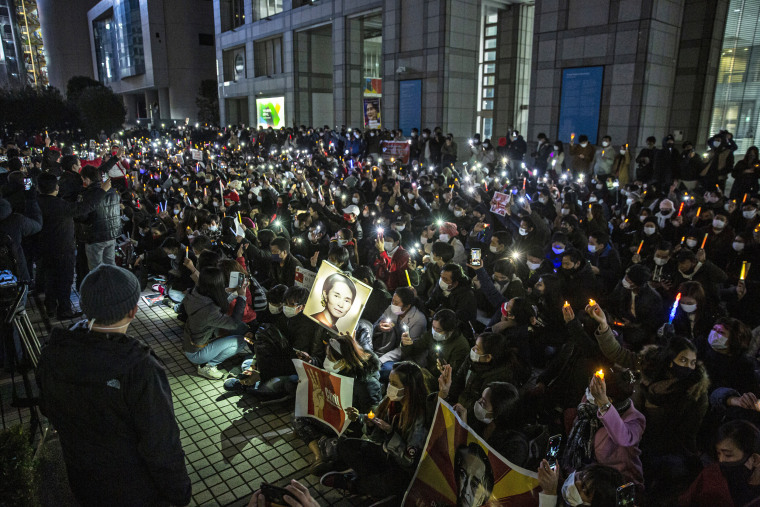 Image: Protesters Against Myanmar Coup Gather At Tokyo's UN University