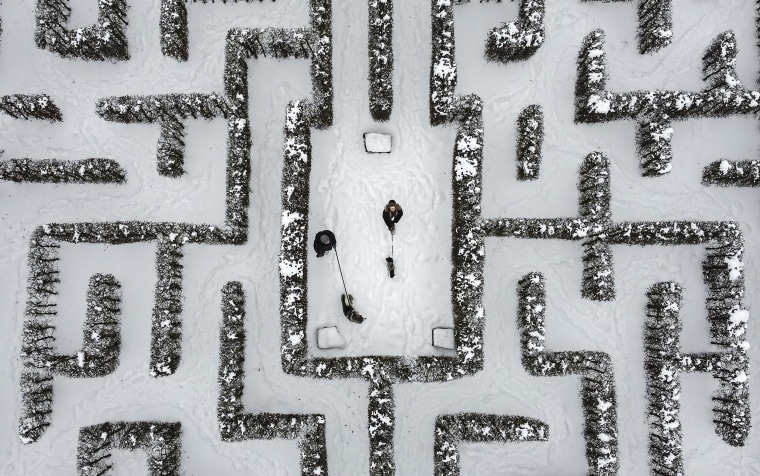 Image: People walk with their dogs in a snow covered Garden maze in Gelsenkirchen, Germany on Feb. 10, 2021.