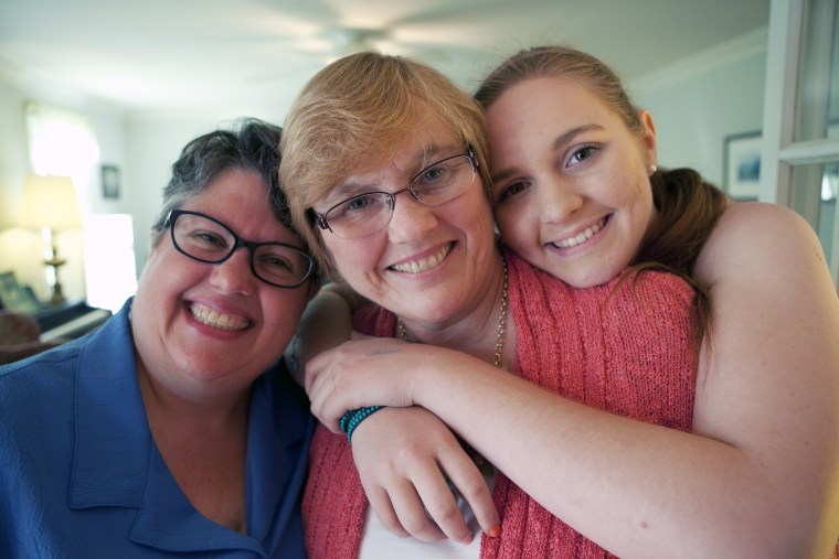 Image: Carol Schall, Mary Townley and their daughter Emily Schall-Townley at their home in North Chesterfield