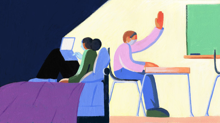 IMage: Illustration shows a child in her dark bedroom, on her computer with her back to a student wearing a mask raising his hand in a classroom.