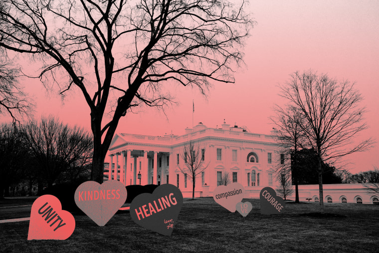 Image: Valentine's Day messages decorate the White House lawn on Feb. 12, 2021. First lady Jill Biden organized the installation.