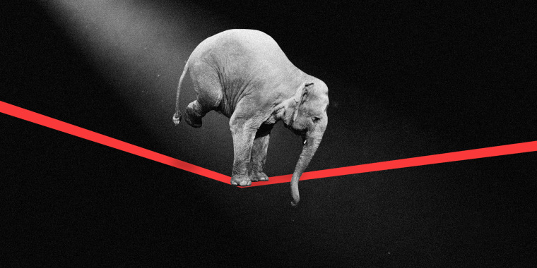 Photo illustration of an elephant in the spotlight walking a across a tight rope.