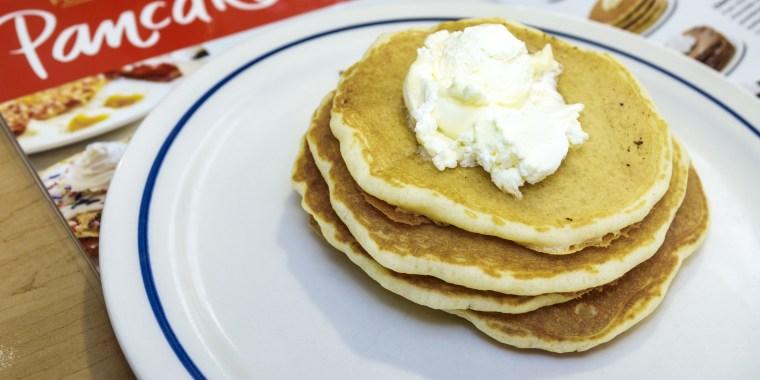 Florida, Gainesville, IHOP, International House Pancakes, plate of pancakes