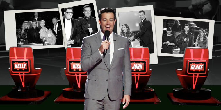 Collage of Carson Daly presenting with four red chairs in his background and collage of photos of previous The Voice seasons