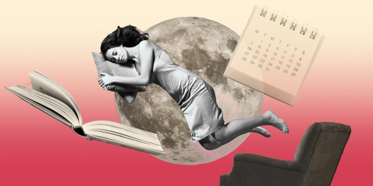 Collage of woman sleeping with a book, chair, calendar and moon floating around her