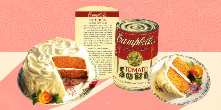 Collage of recipe card, label and cake