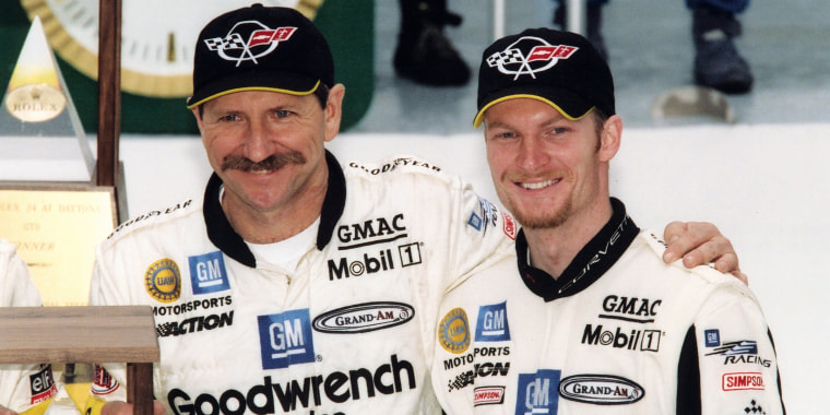 Dale Earnhardt, Sr. Poses With Dale Earnhardt, Jr.