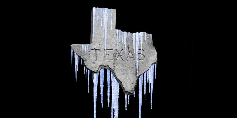 """Photo illustration of an engraved sign that reads,""""TEXAS"""" in the shape of the state is covered with icicles."""