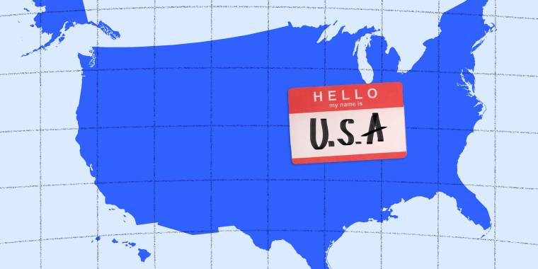"""Photo illustration of the map of U.S.A with a tag that reads,""""Hello, my name is U.S.A""""."""