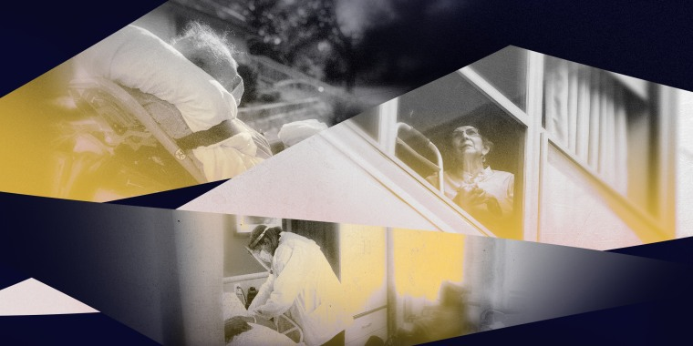 Image: Photo illustration with pictures of nursing home residents and workers during the Covid pandemic in shapes of glass shards with yellow overlay.