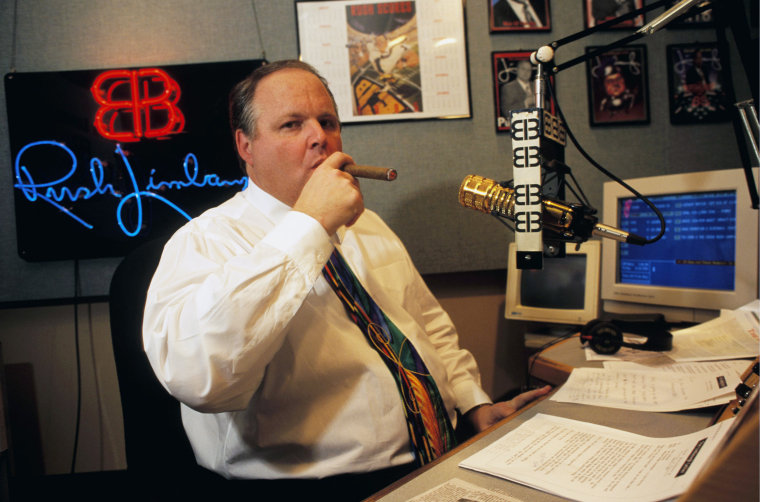 Image: Rush Limbaugh on air in 1995.