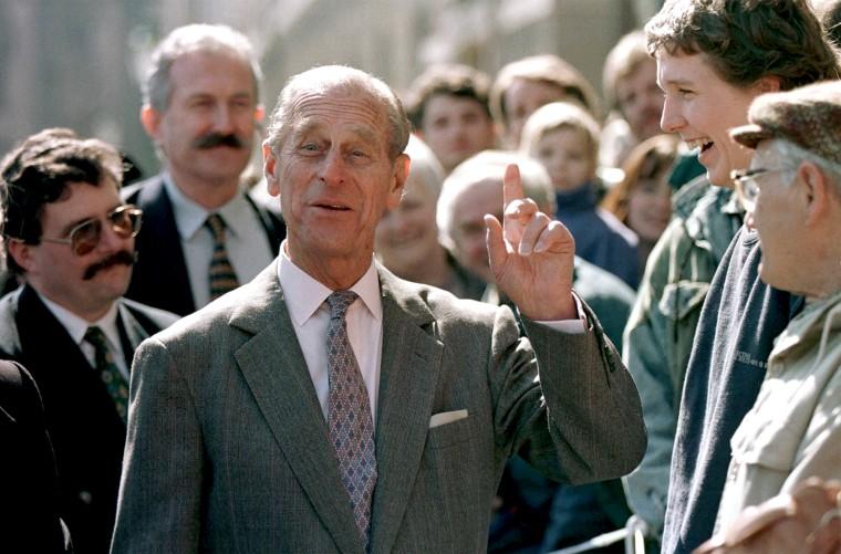 Prince Philip of England shares a laugh