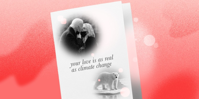 "Photo illustration of a greeting card with images of President Joe Biden and First Lady Jill Biden kissing and a polar bear on a melting ice cap. Text on the card reads,""Your love is as real as climate change.""."