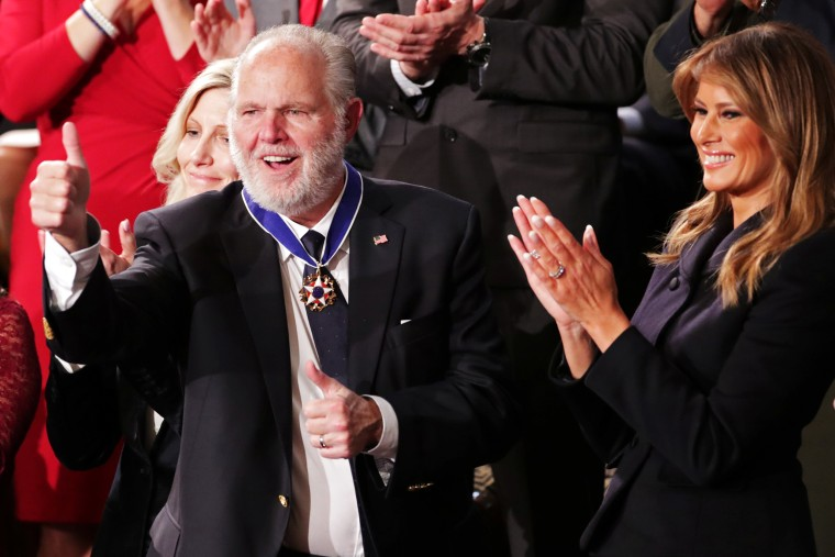 Image: Conservative radio talk show host Rush Limbaugh reacts as he is awarded the Presidential Medal of Freedom in Washington