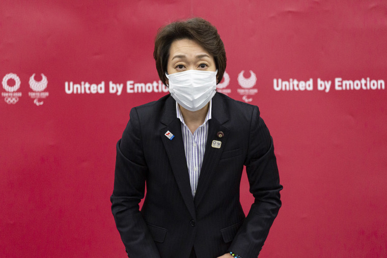 Image: Seiko Hashimoto, president of the Tokyo 2020 Olympics Organizing Committee attends a press conference following the Tokyo 2020 Executive Board meeting