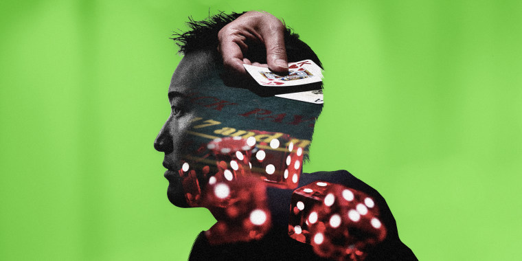 Image: Illustration shows the silhouette of a man with rolling red dice and a hand holding playing cards inside his head.