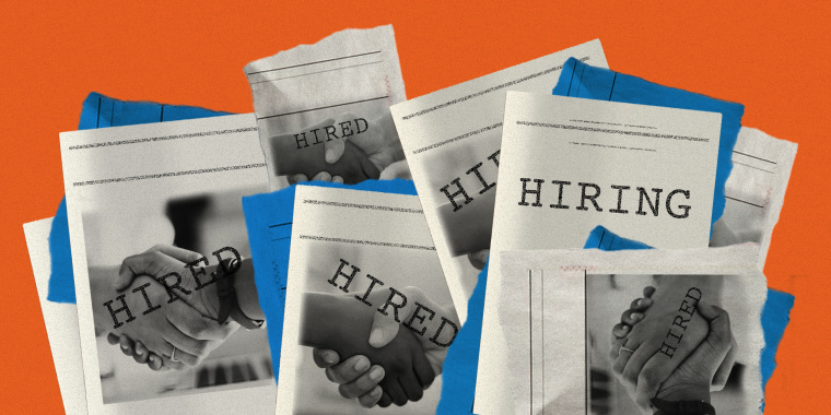 """Photo illustration of multi-racial hands shaking on the cover of magazines and scraps of newspapers. The words over it read,""""Hired"""", Hired"""" and """"Hiring"""""""
