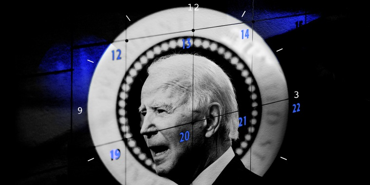 Photo illustration of President Joseph Biden juxtaposed with the dates on a calendar and digits of a clock.