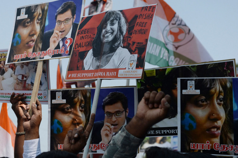 Image: Members of the Indian Youth Congress hold pictures of activist Disha Ravi after her arrest by Delhi police for her alleged involvement in the instigation of violence during the farmers protest on India's Republic Day, in Chennai