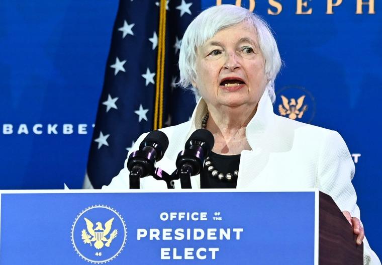Image: Treasury secretary nominee Janet Yellen speaks after US President-elect Joe Biden announced his economic team at The Queen Theater in Wilmington