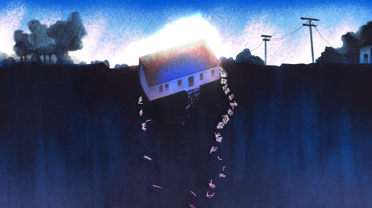 Image: Illustration of a large house with a white picket fence falling over the edge of a cliff.