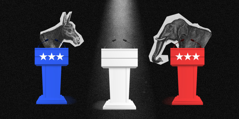 Photo illustration of three podiums on a stage with a donkey behind the blue podium on the left and elephant behind the red podium to the right. A spotlight is on an empty white podium in the centre.