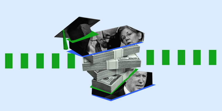 Image: Stacks of money is layered between an image of Elizabeth Warren and Chuck Schumer on top and and image of President Joe Biden at the base. A graduation cap sits on top of the pile.