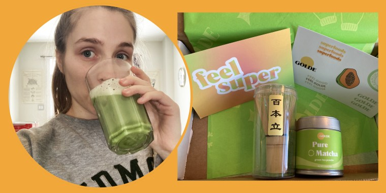 Collage of woman drinking matcha tea on yellow background