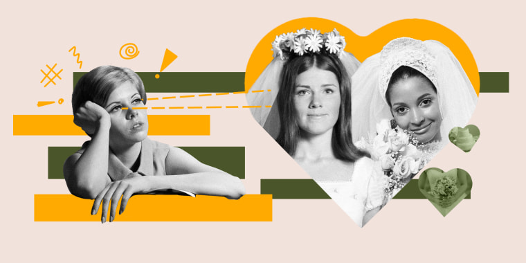Collage of vintage photos of a woman looking at two married woman inside a heart