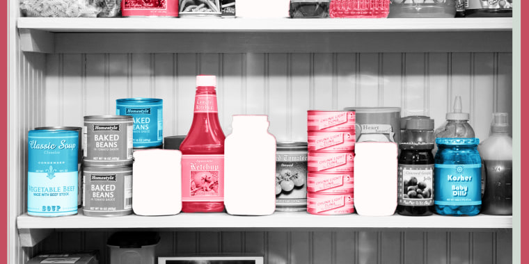 Photo illustration of pantry with items missing
