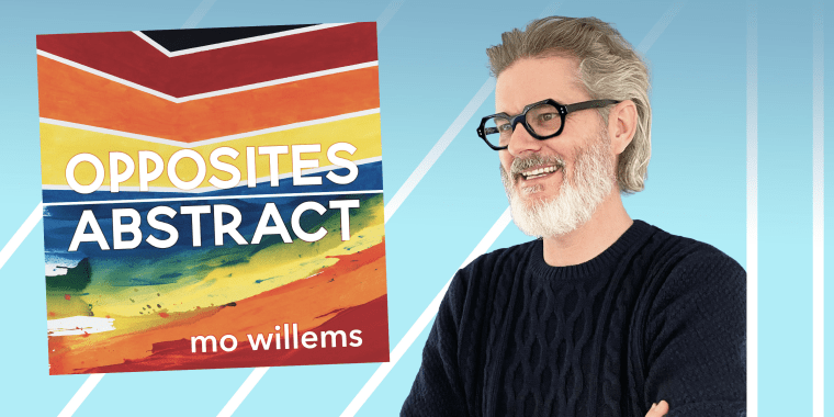 Mo Willems next to the cover of his new book