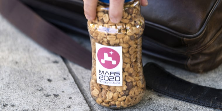 Lucky peanuts have been a fixture in mission control during major mission events for more than 50 years.