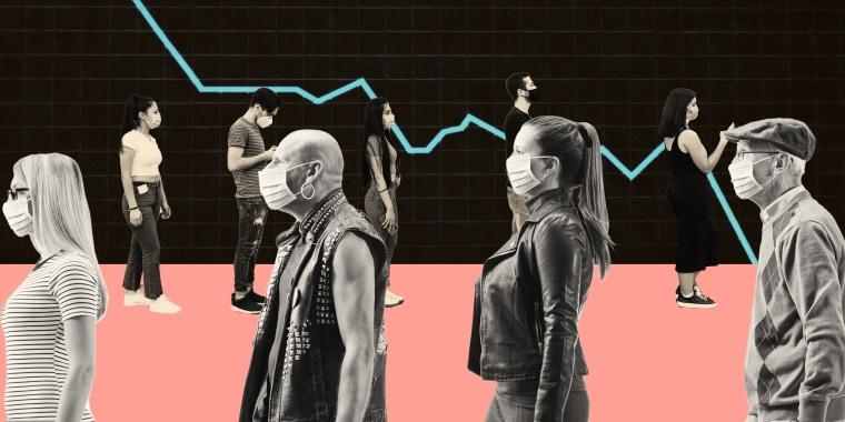 Illustration of lines of people wearing masks