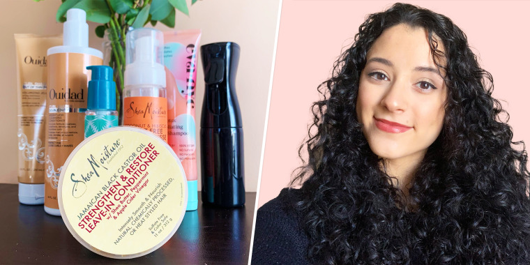 Collage of woman with curly hair and products